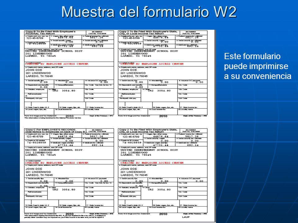 Muestra del formulario W2
