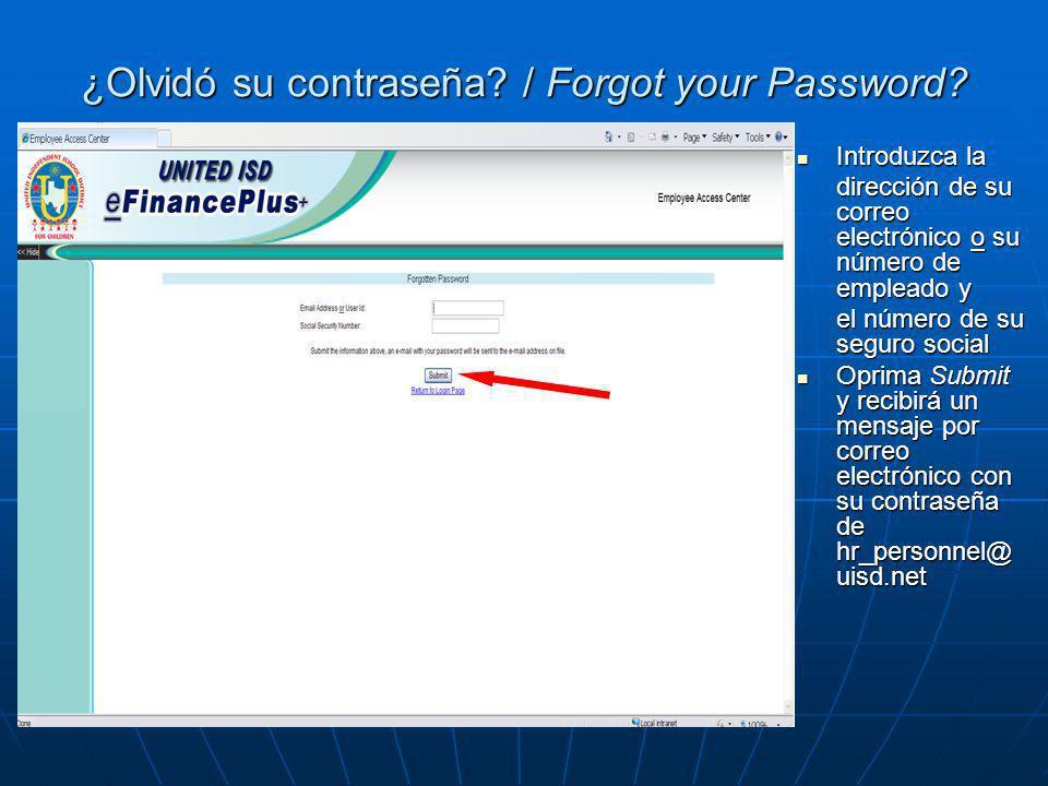 ¿Olvidó su contraseña / Forgot your Password