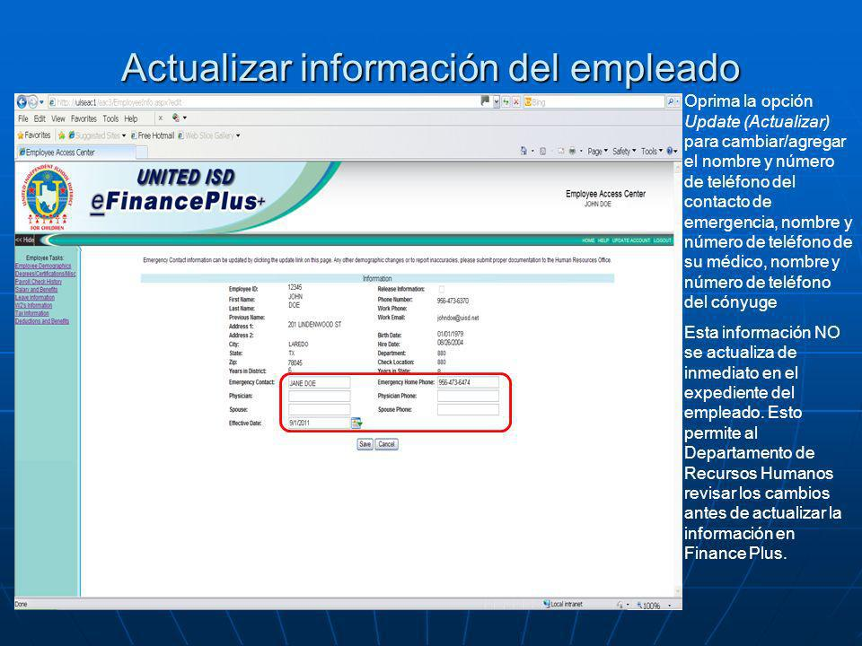 Actualizar información del empleado