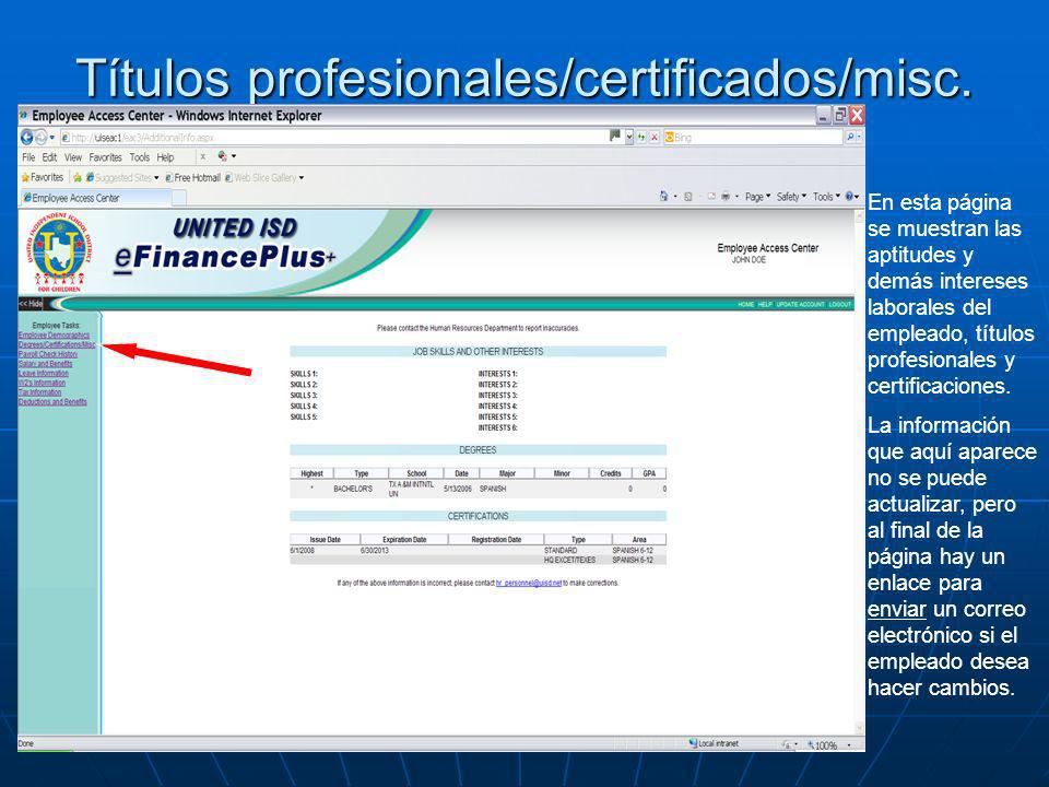 Títulos profesionales/certificados/misc.