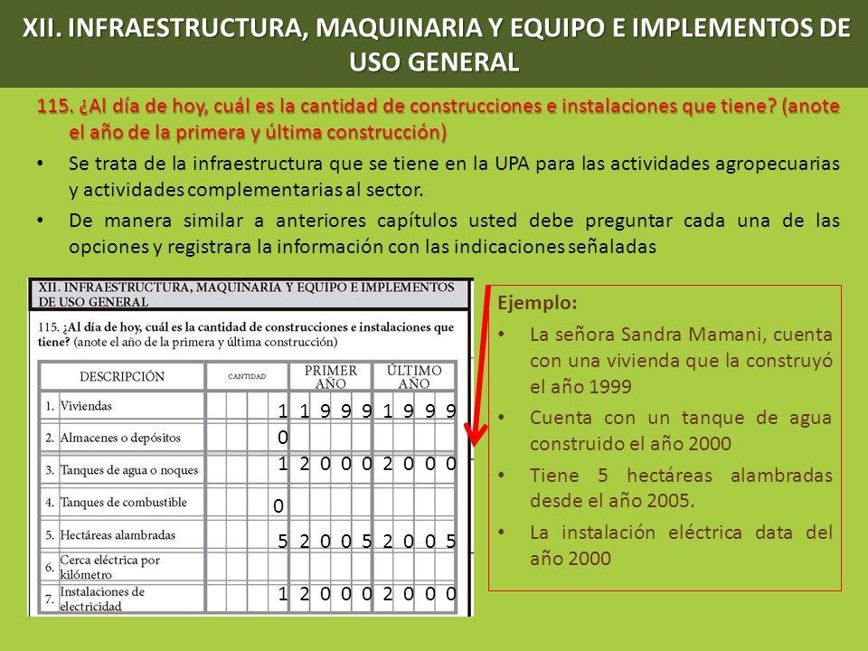 XII. INFRAESTRUCTURA, MAQUINARIA Y EQUIPO E IMPLEMENTOS DE USO GENERAL