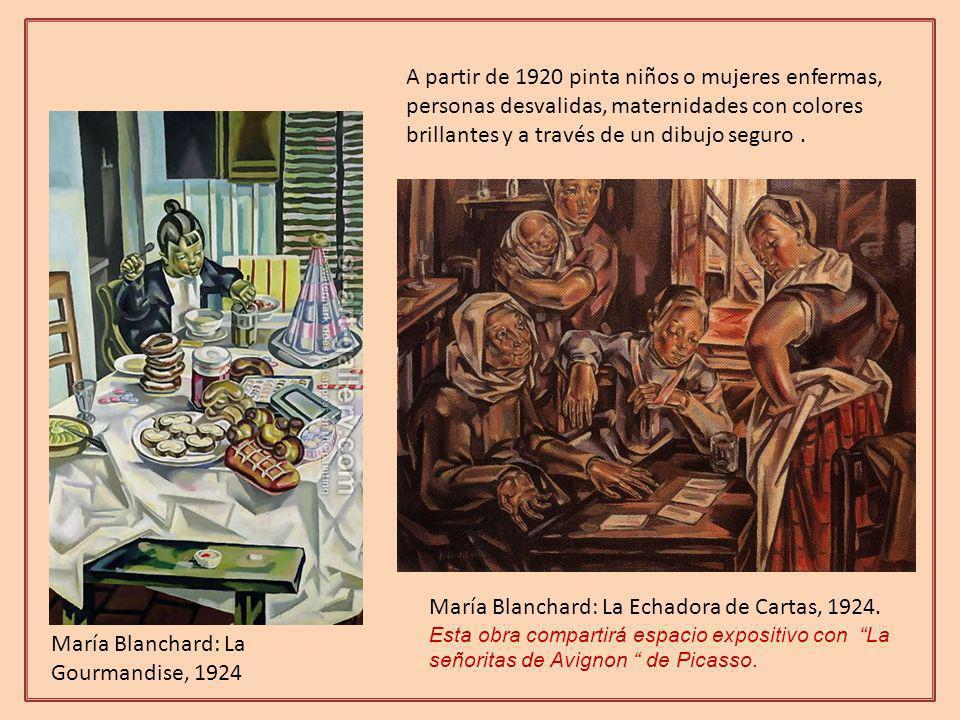 A partir de 1920 pinta niños o mujeres enfermas, personas desvalidas, maternidades con colores brillantes y a través de un dibujo seguro .