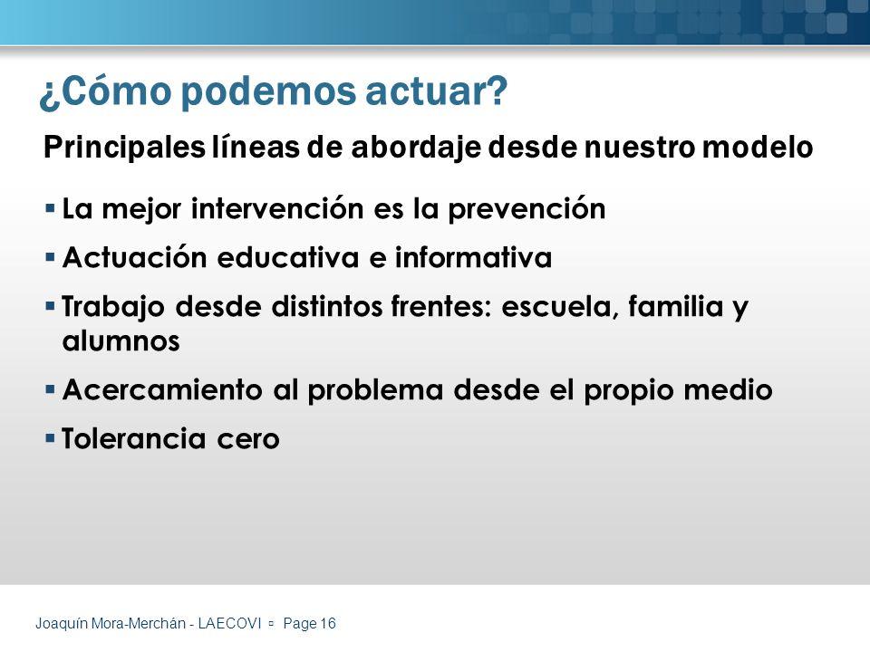 ¿Cómo podemos actuar Principales líneas de abordaje desde nuestro modelo. La mejor intervención es la prevención.