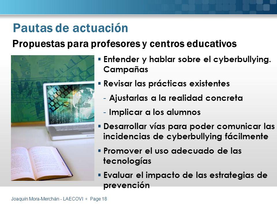 Pautas de actuación Propuestas para profesores y centros educativos