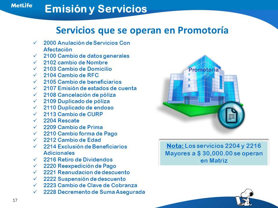 Servicios que se operan en Promotoría