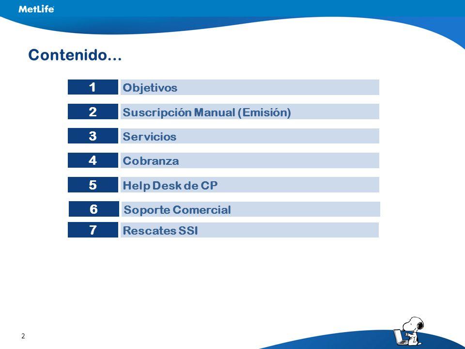 Contenido… 1 2 3 4 5 6 7 Objetivos Suscripción Manual (Emisión)