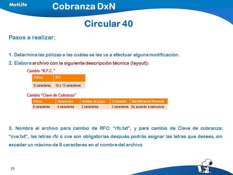 Cobranza DxN Circular 40 Pasos a realizar: