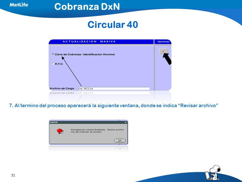 Cobranza DxN Circular 40. 7.