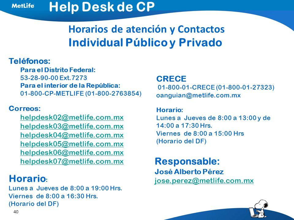 Help Desk de CP Horarios de atención y Contactos