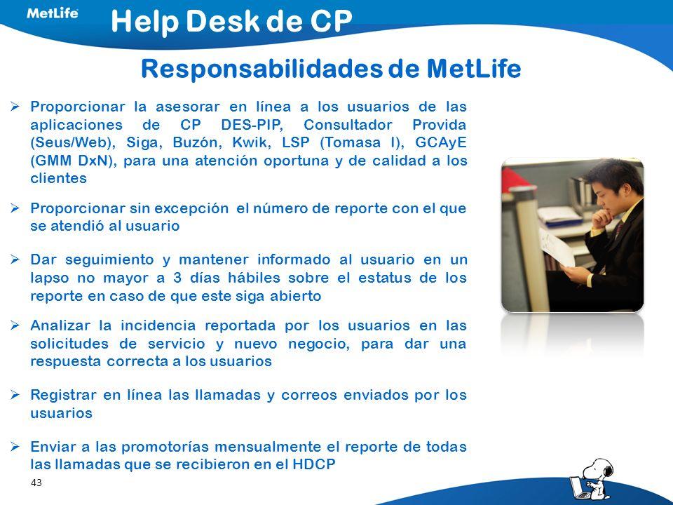 Responsabilidades de MetLife