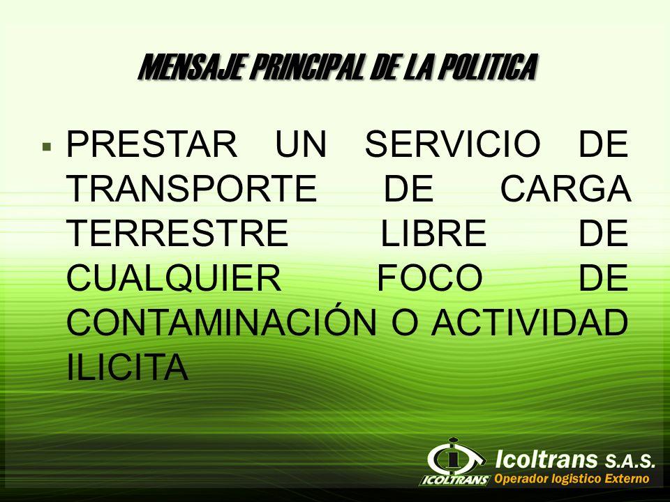 MENSAJE PRINCIPAL DE LA POLITICA