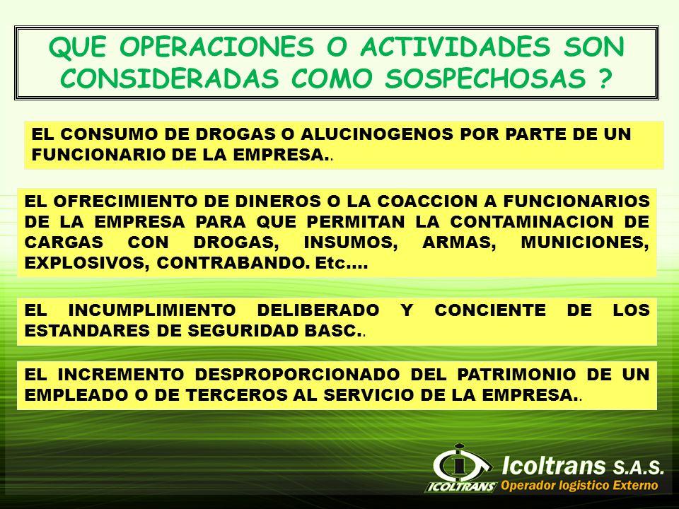 QUE OPERACIONES O ACTIVIDADES SON CONSIDERADAS COMO SOSPECHOSAS