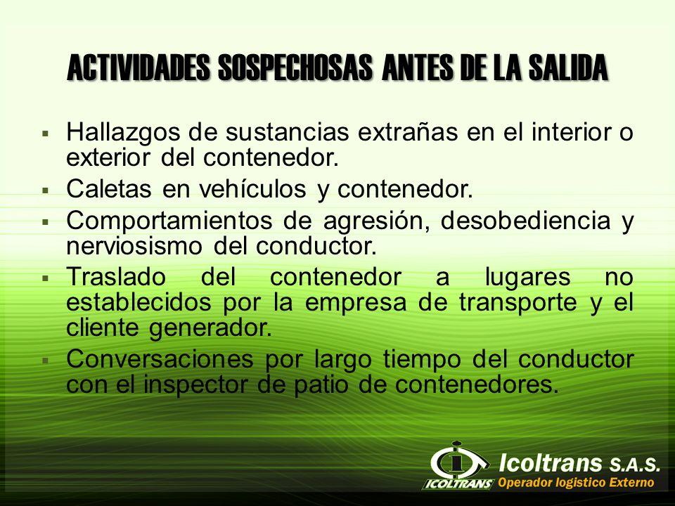 ACTIVIDADES SOSPECHOSAS ANTES DE LA SALIDA