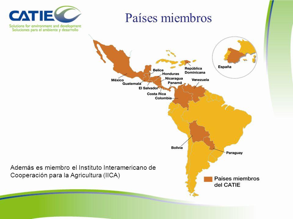 Países miembros Además es miembro el Instituto Interamericano de Cooperación para la Agricultura (IICA)