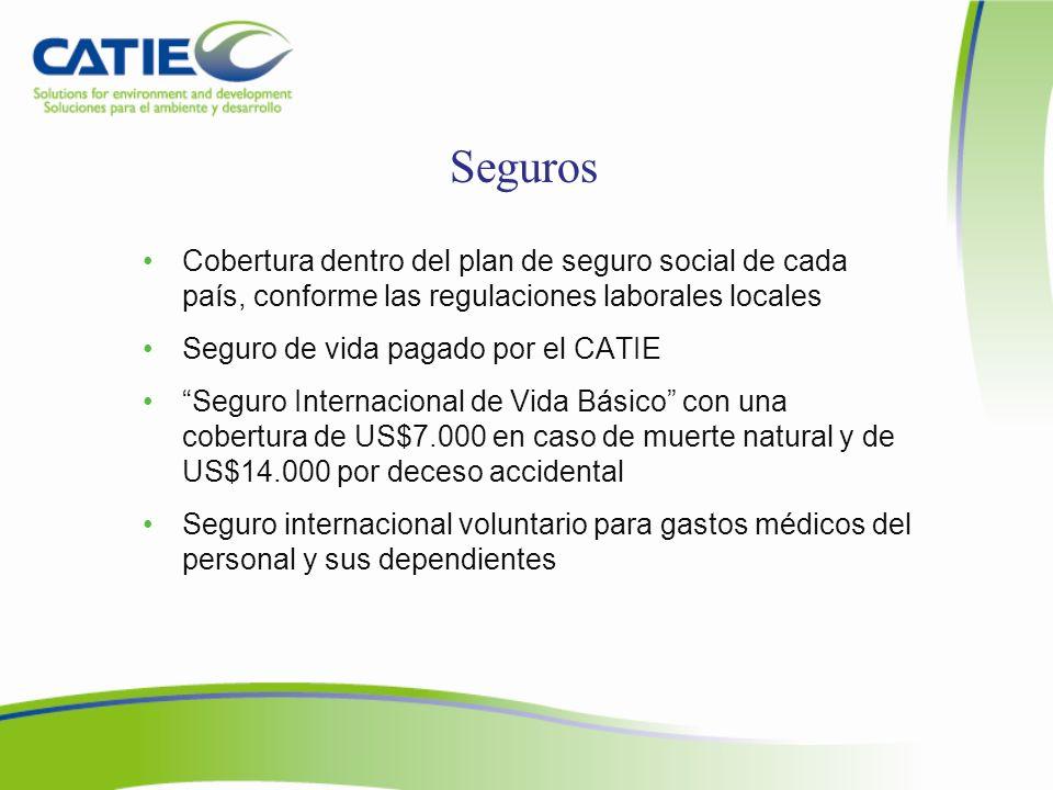 Seguros Cobertura dentro del plan de seguro social de cada país, conforme las regulaciones laborales locales.