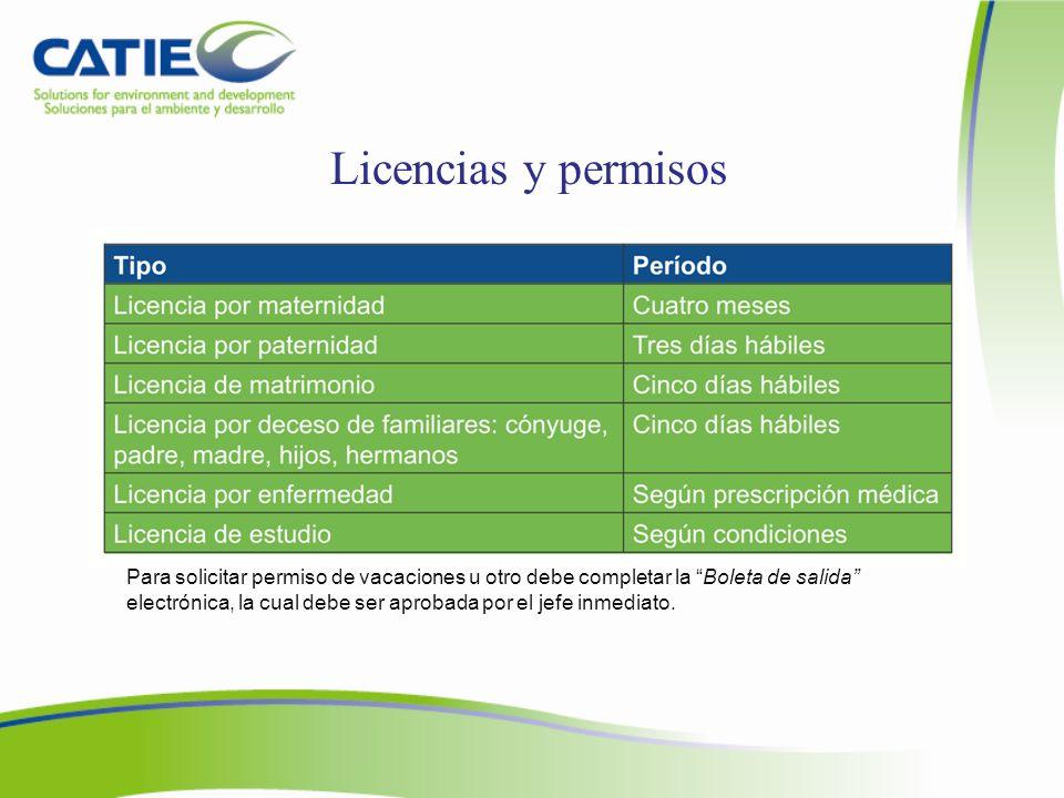 Licencias y permisos Para más información, haga clic en: http://intranet.catie.ac.cr/intranet/ Desarrollo Humano-boletas de salida.