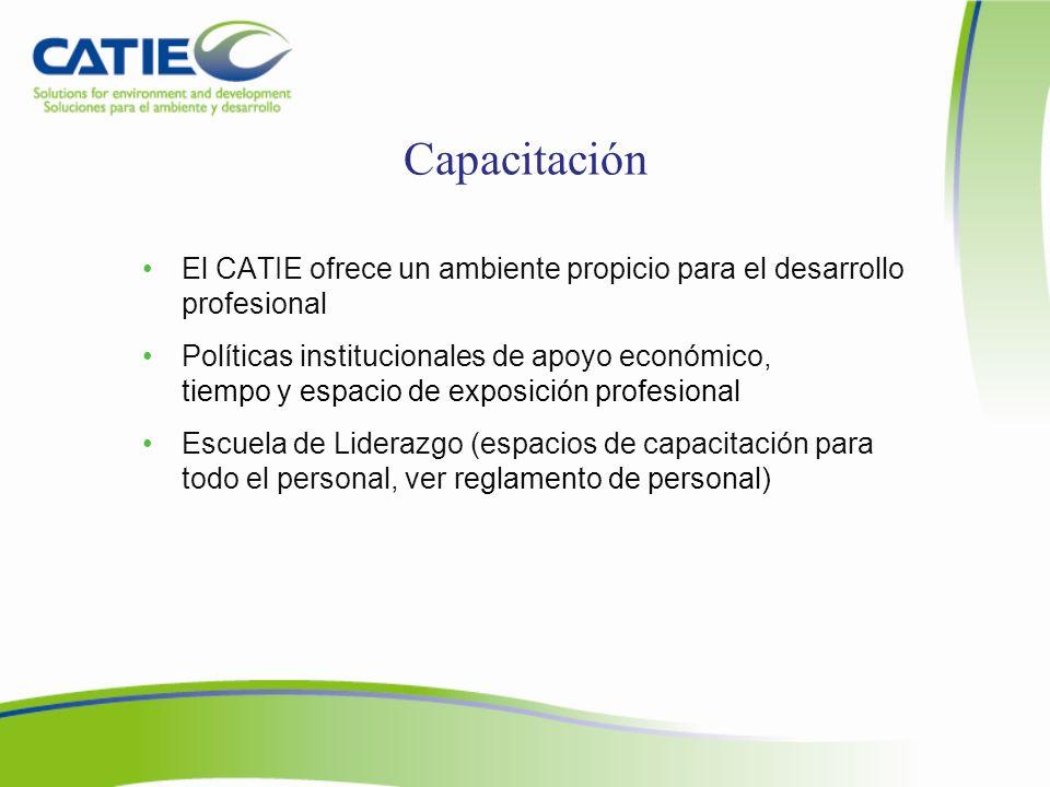 Capacitación El CATIE ofrece un ambiente propicio para el desarrollo profesional.