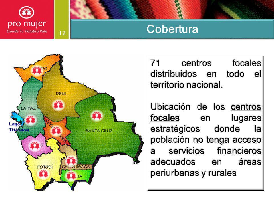 Cobertura 12. 71 centros focales distribuidos en todo el territorio nacional.