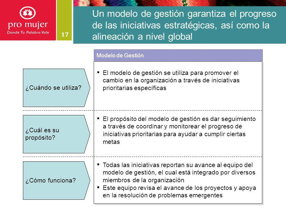 Un modelo de gestión garantiza el progreso de las iniciativas estratégicas, así como la alineación a nivel global