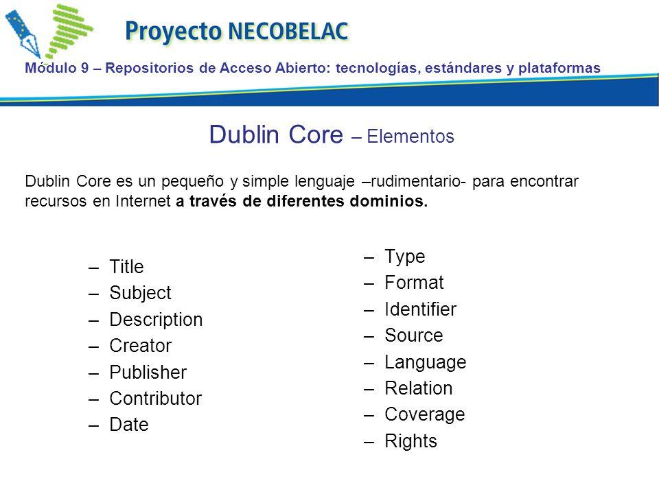 Dublin Core – Elementos