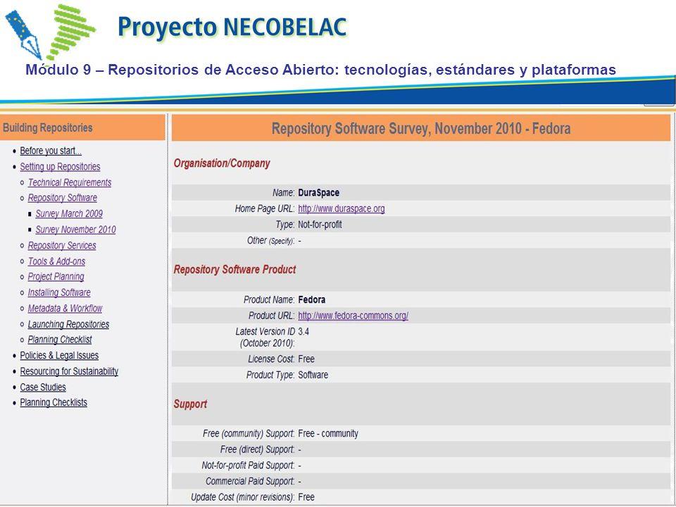 Módulo 9 – Repositorios de Acceso Abierto: tecnologías, estándares y plataformas