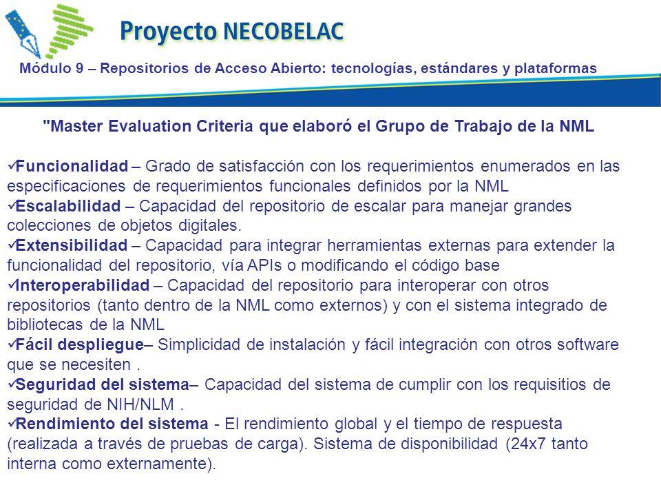 Master Evaluation Criteria que elaboró el Grupo de Trabajo de la NML