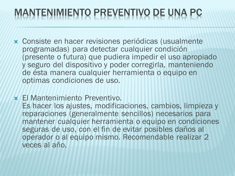 Mantenimiento Preventivo de una PC