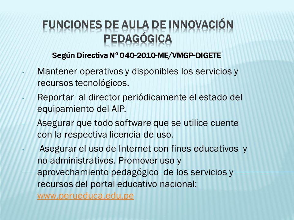 Funciones de Aula de Innovación Pedagógica