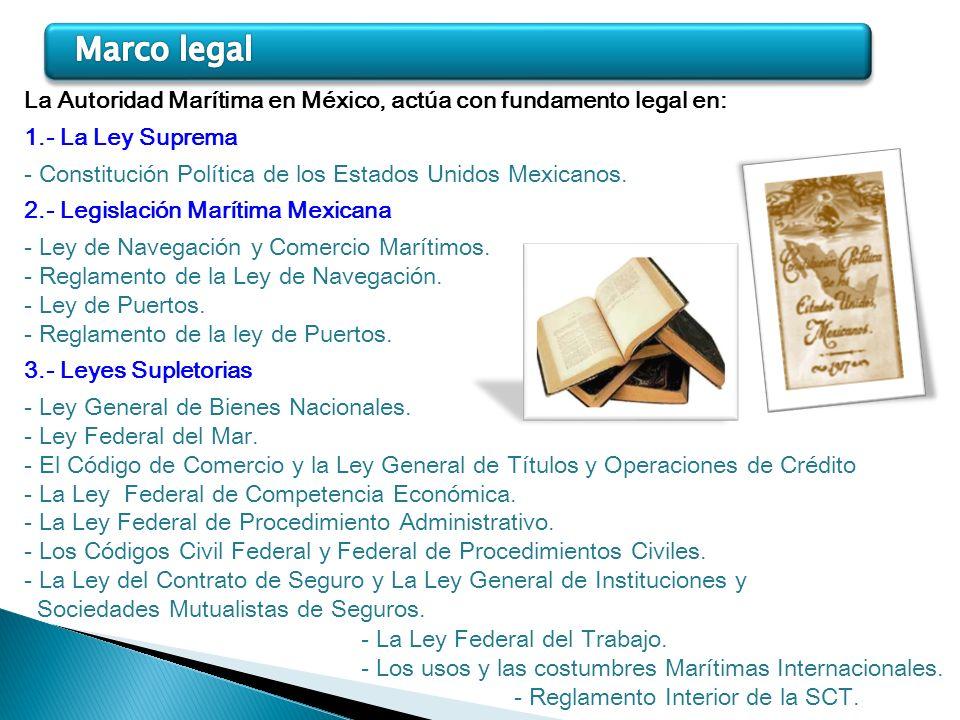 Marco legal La Autoridad Marítima en México, actúa con fundamento legal en: 1.- La Ley Suprema.