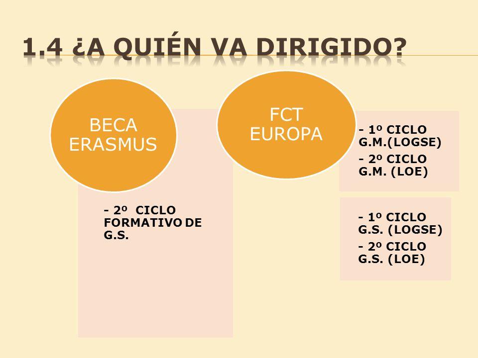 1.4 ¿A quién va dirigido FCT EUROPA BECA ERASMUS