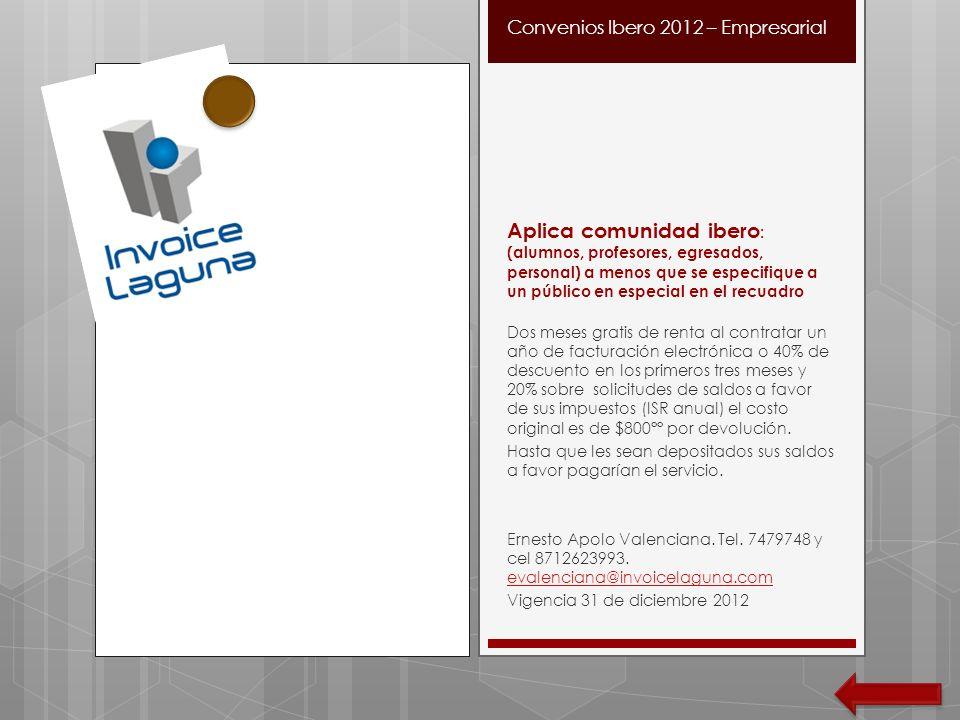 Convenios Ibero 2012 – Empresarial