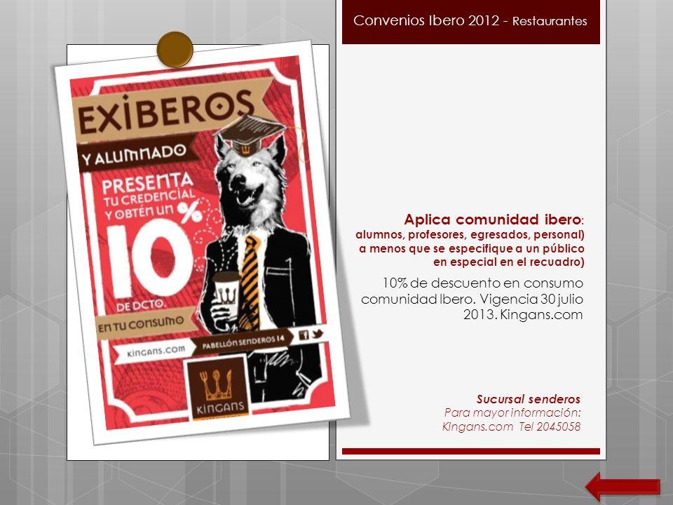 Convenios Ibero 2012 - Restaurantes