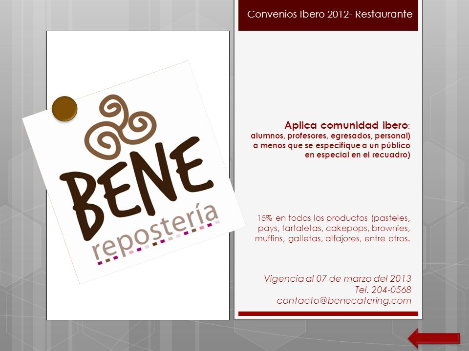 Convenios Ibero 2012- Restaurante