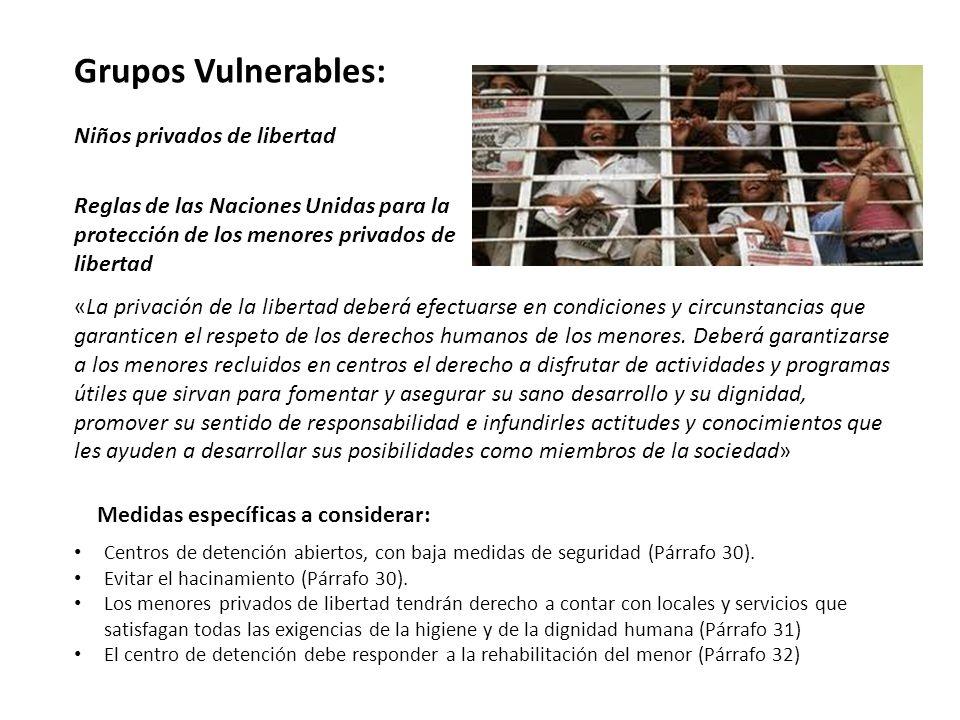 Grupos Vulnerables: Niños privados de libertad