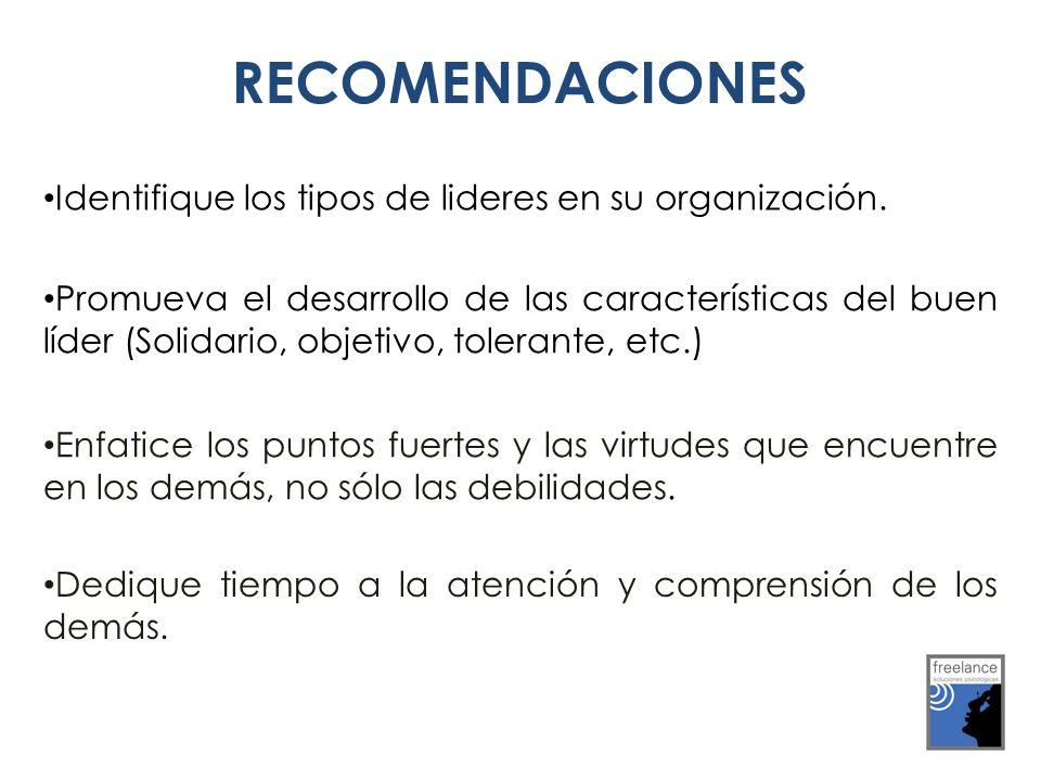 RECOMENDACIONES Identifique los tipos de lideres en su organización.