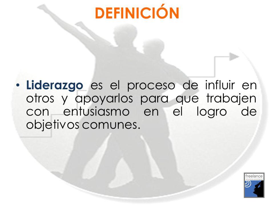 DEFINICIÓN Liderazgo es el proceso de influir en otros y apoyarlos para que trabajen con entusiasmo en el logro de objetivos comunes.