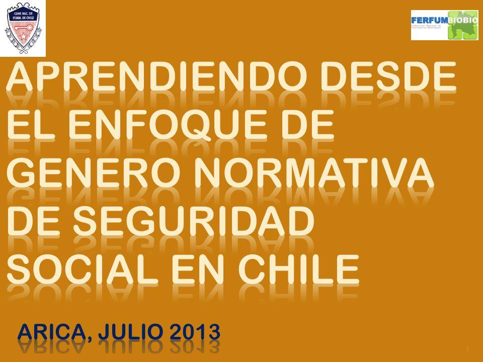 APRENDIENDO DESDE EL ENFOQUE DE GENERO NORMATIVA DE SEGURIDAD SOCIAL EN CHILE ARICA, Julio 2013