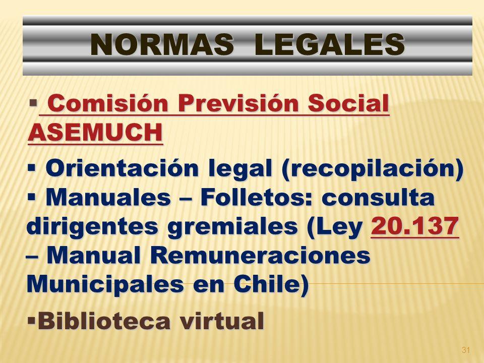 NORMAS LEGALES Comisión Previsión Social ASEMUCH