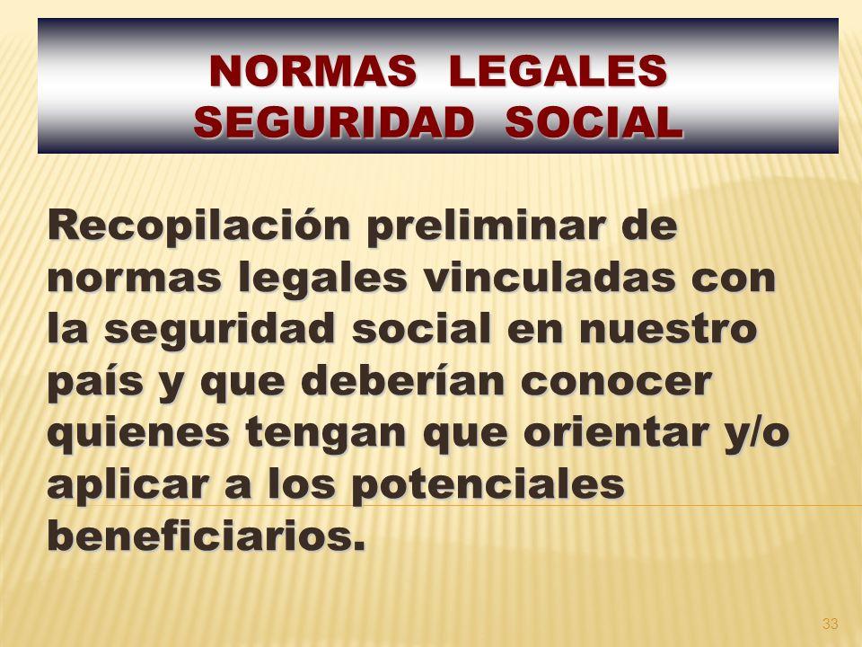 NORMAS LEGALES SEGURIDAD SOCIAL.