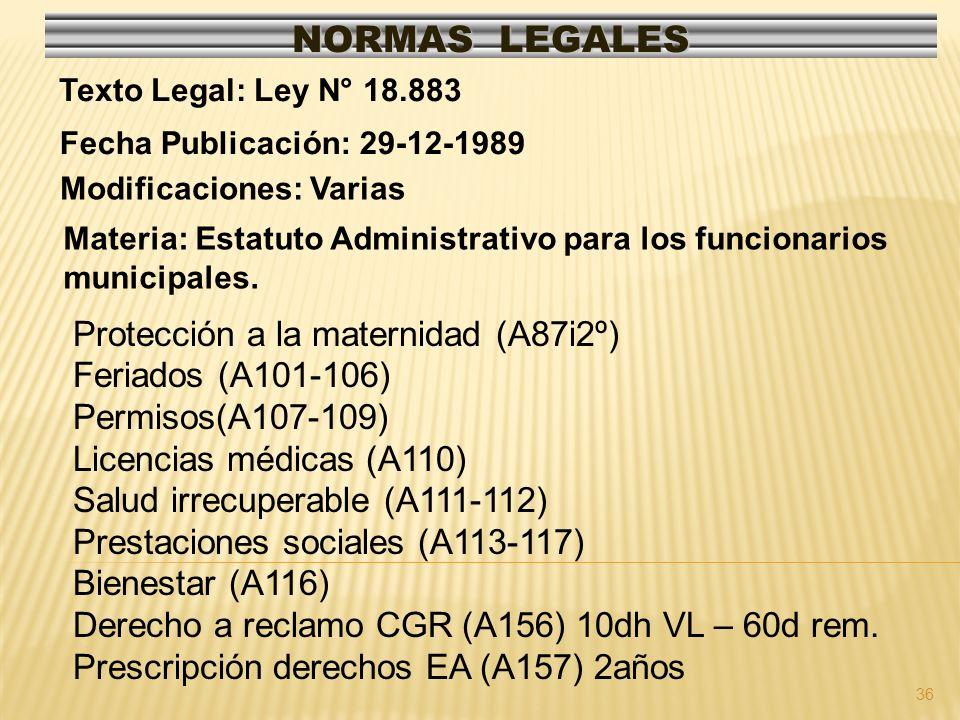 NORMAS LEGALES Protección a la maternidad (A87i2º) Feriados (A101-106)