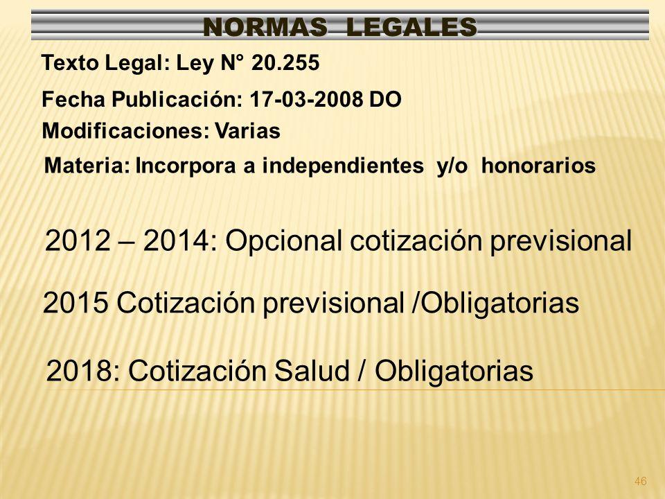 2012 – 2014: Opcional cotización previsional