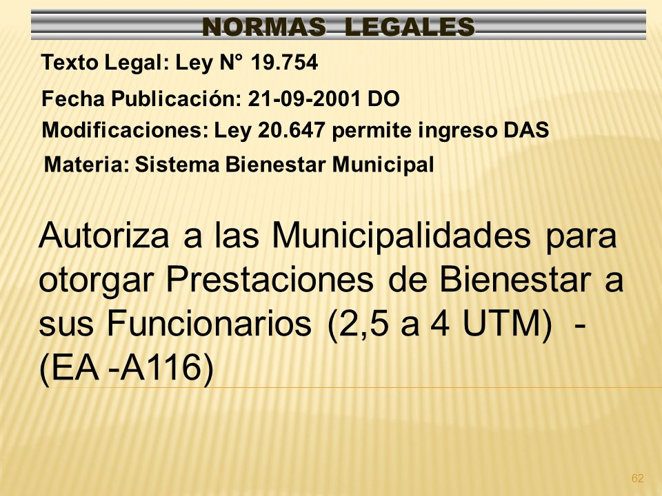 NORMAS LEGALES Texto Legal: Ley N° 19.754. Fecha Publicación: 21-09-2001 DO. Modificaciones: Ley 20.647 permite ingreso DAS.