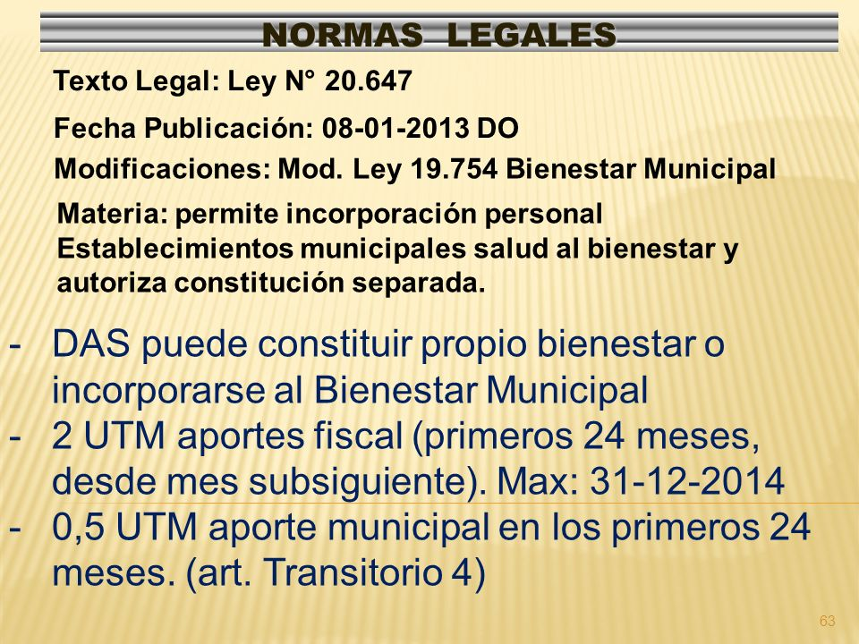 NORMAS LEGALES Texto Legal: Ley N° 20.647. Fecha Publicación: 08-01-2013 DO. Modificaciones: Mod. Ley 19.754 Bienestar Municipal.
