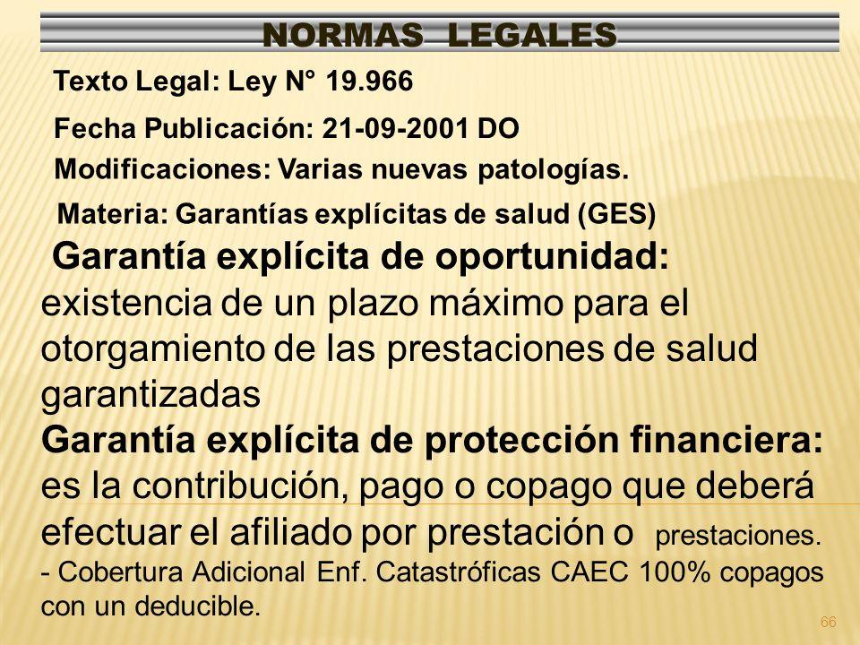 NORMAS LEGALES Texto Legal: Ley N° 19.966. Fecha Publicación: 21-09-2001 DO. Modificaciones: Varias nuevas patologías.