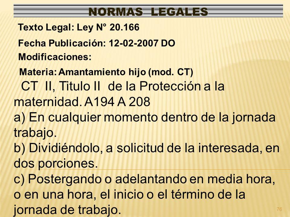 CT II, Titulo II de la Protección a la maternidad. A194 A 208