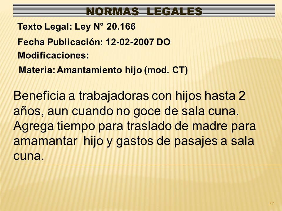 NORMAS LEGALES Texto Legal: Ley N° 20.166. Fecha Publicación: 12-02-2007 DO. Modificaciones: Materia: Amantamiento hijo (mod. CT)