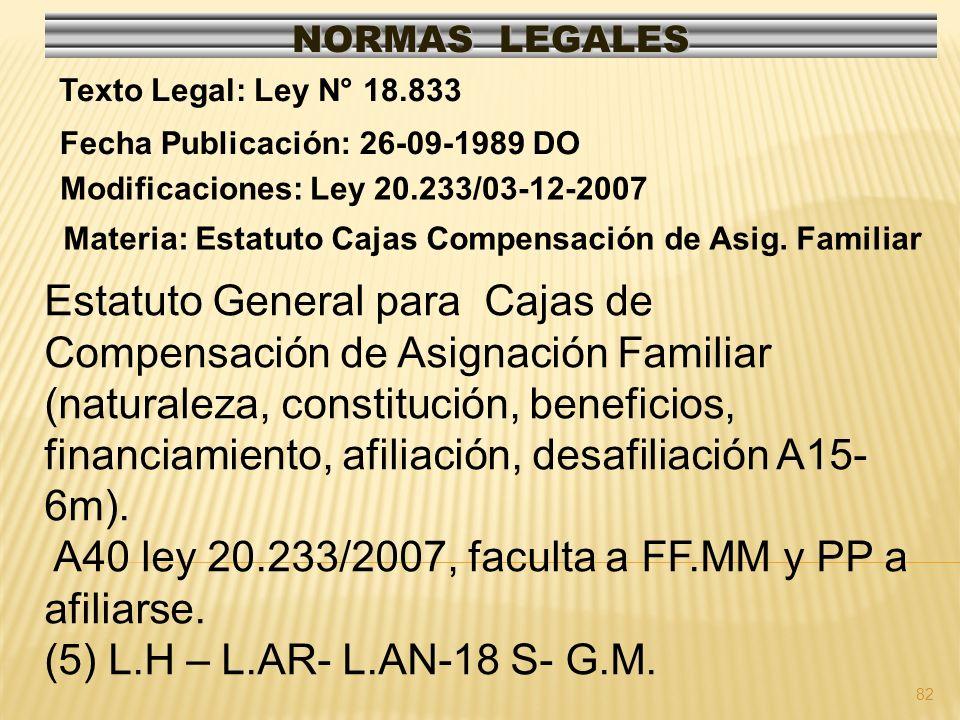 A40 ley 20.233/2007, faculta a FF.MM y PP a afiliarse.