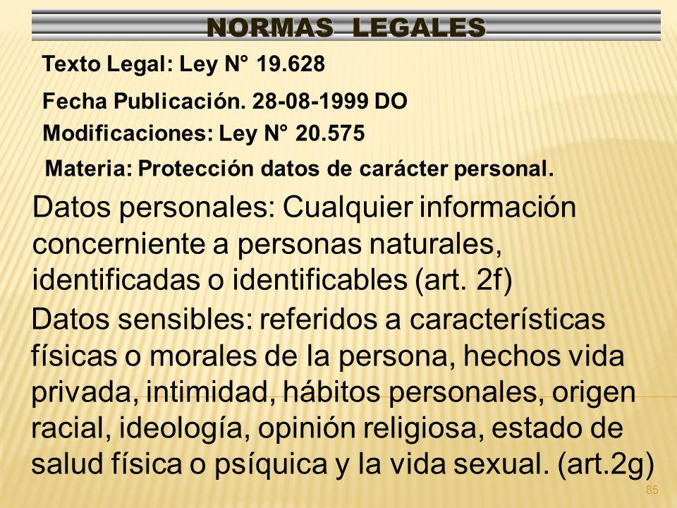 NORMAS LEGALES Texto Legal: Ley N° 19.628. Fecha Publicación. 28-08-1999 DO. Modificaciones: Ley N° 20.575.