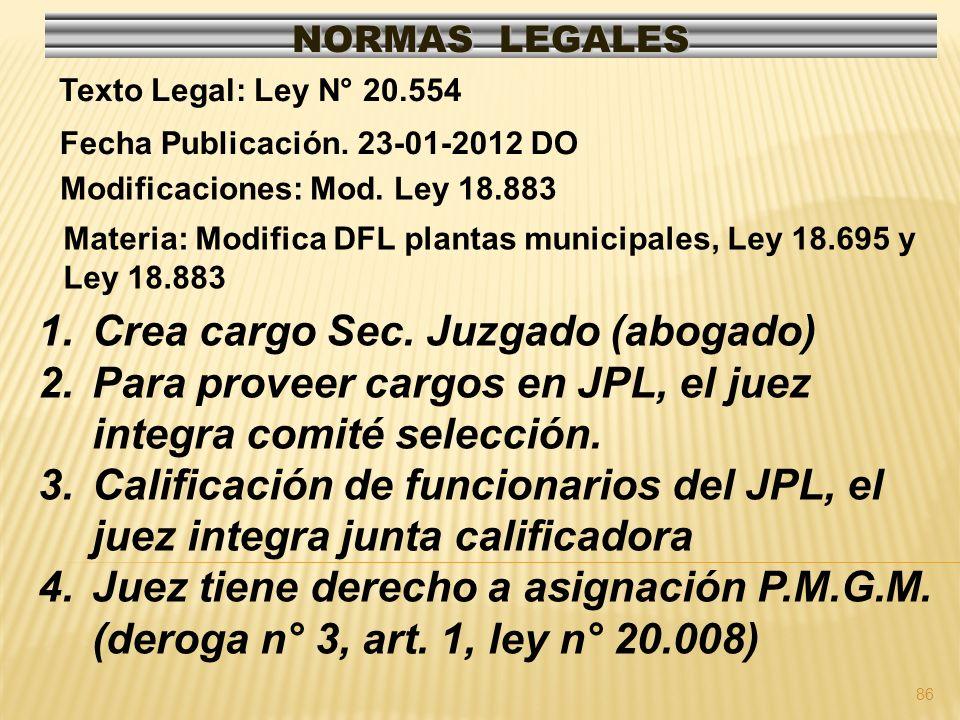 Crea cargo Sec. Juzgado (abogado)