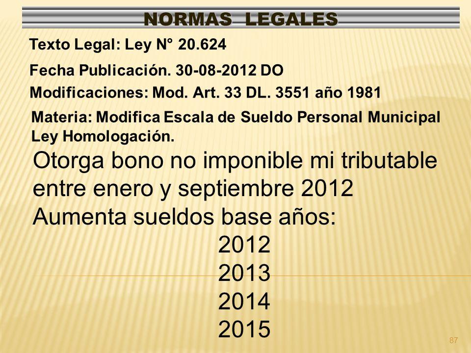 Otorga bono no imponible mi tributable entre enero y septiembre 2012